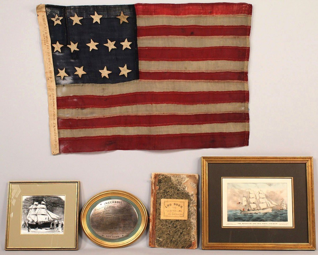 """81: Rare flag & archive from ship """"Red White and Blue"""""""