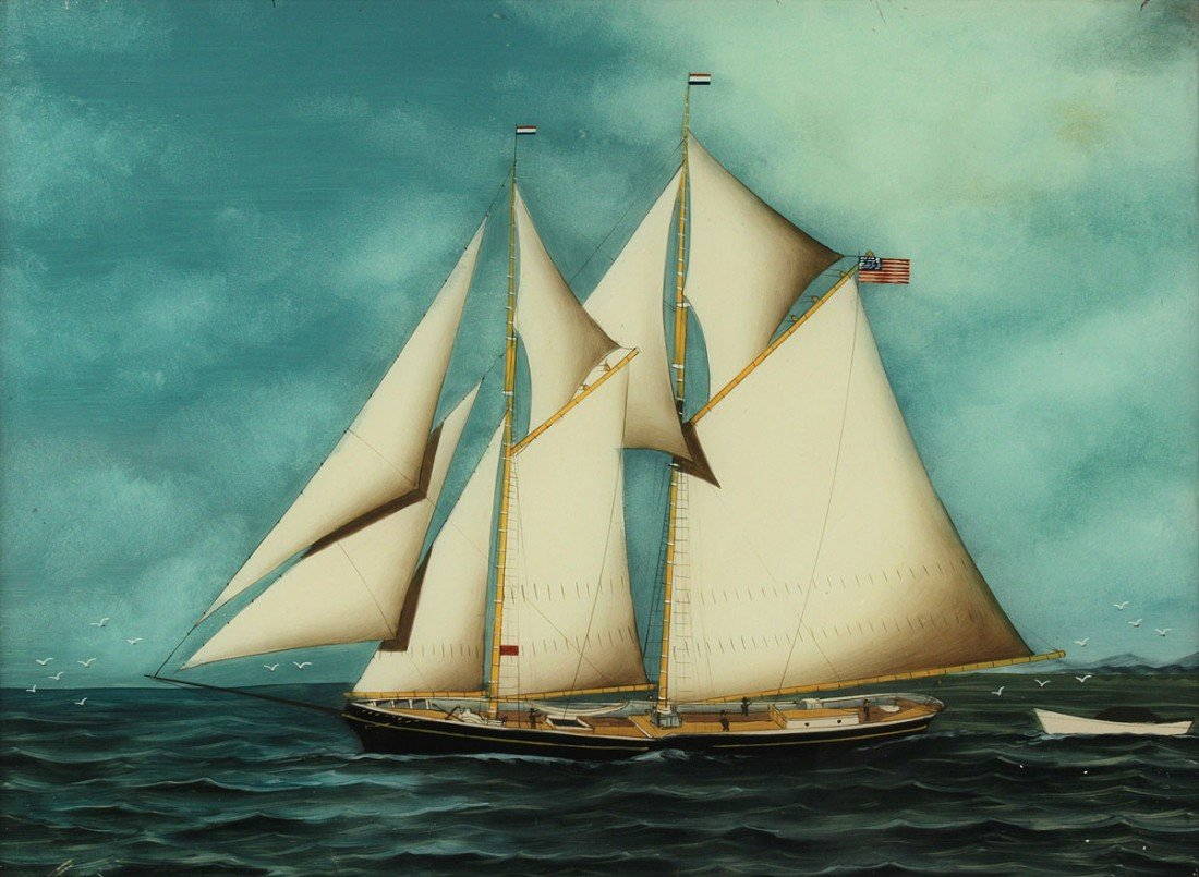 88: 19th cent. ship painting, reverse painting on glass
