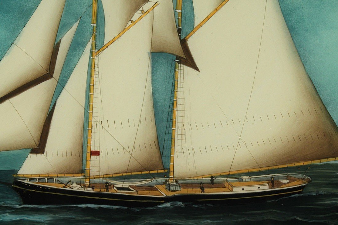 88: 19th cent. ship painting, reverse painting on glass - 3