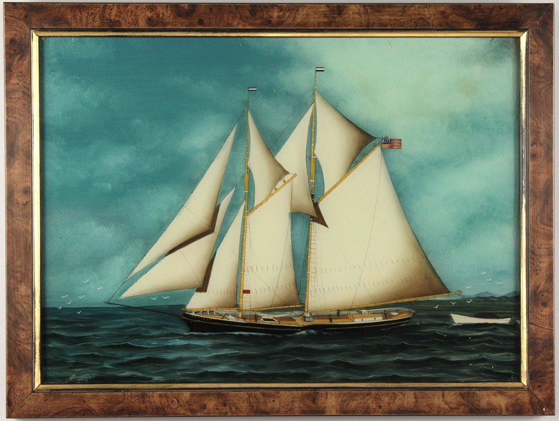 88: 19th cent. ship painting, reverse painting on glass - 5