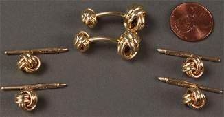 173 Gentlemans 14K Gold Knot Dress Set 6 items