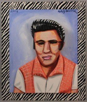 189: Red Grooms oil painting, Elvis