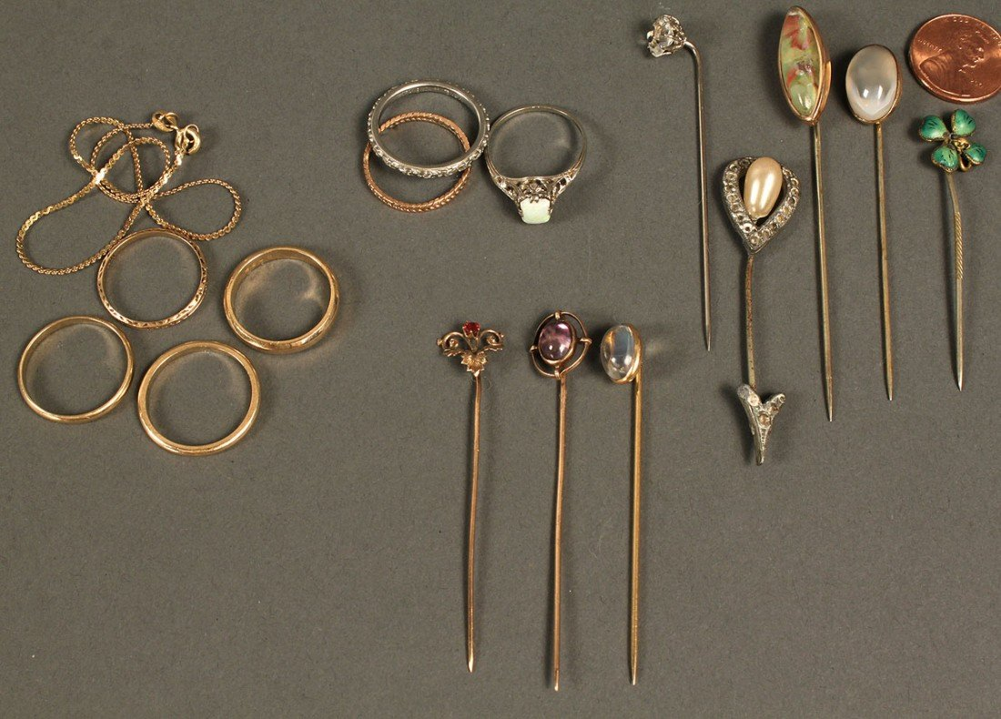 544: Lot of misc. jewelry incl. 18K, 14K & 10K gold