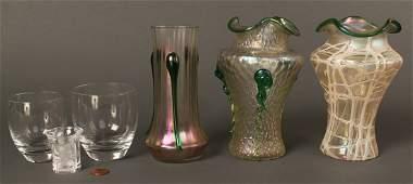 686: Lot of 5 glass items, Loetz, Baccarat, Lalique