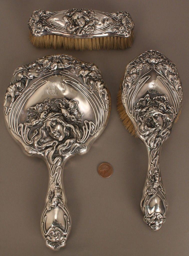 3-piece sterling Art Nouveau dresser set