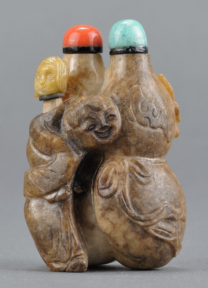 3: Chinese Carved Jade Triple Bottle Shape