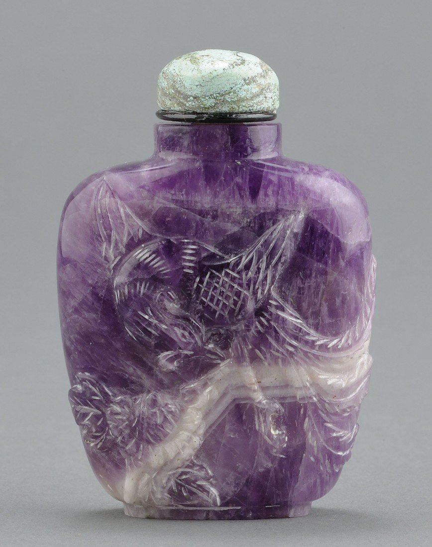 6: Chinese Carved Amethyst Snuff Bottle