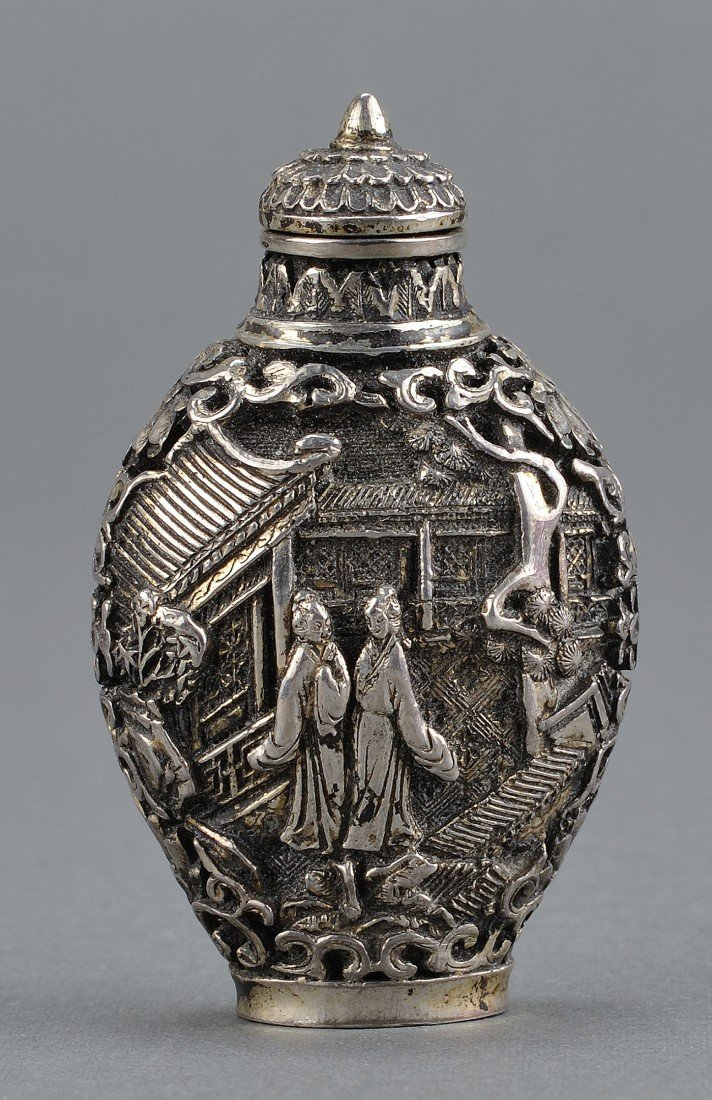 8: Chinese Silver Snuff Bottle
