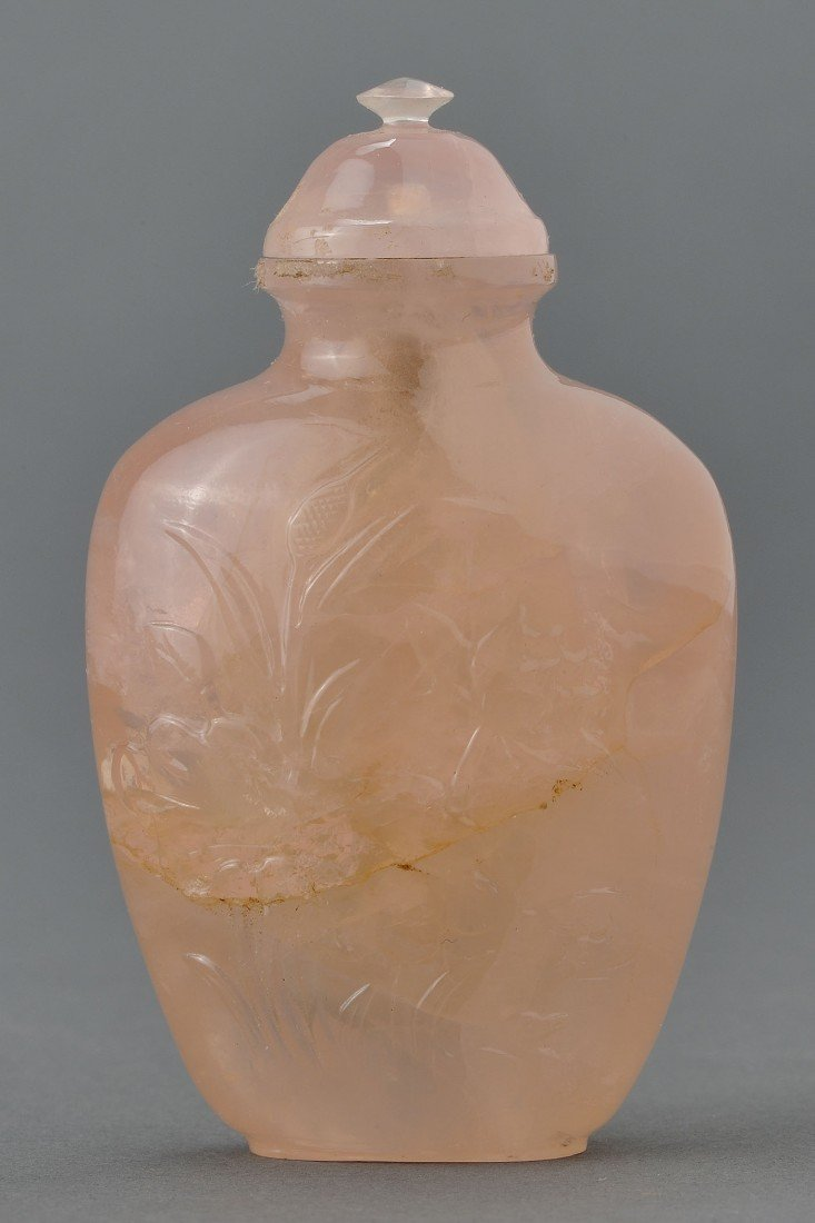 10: Chinese Carved Rose Quartz Snuff Bottle