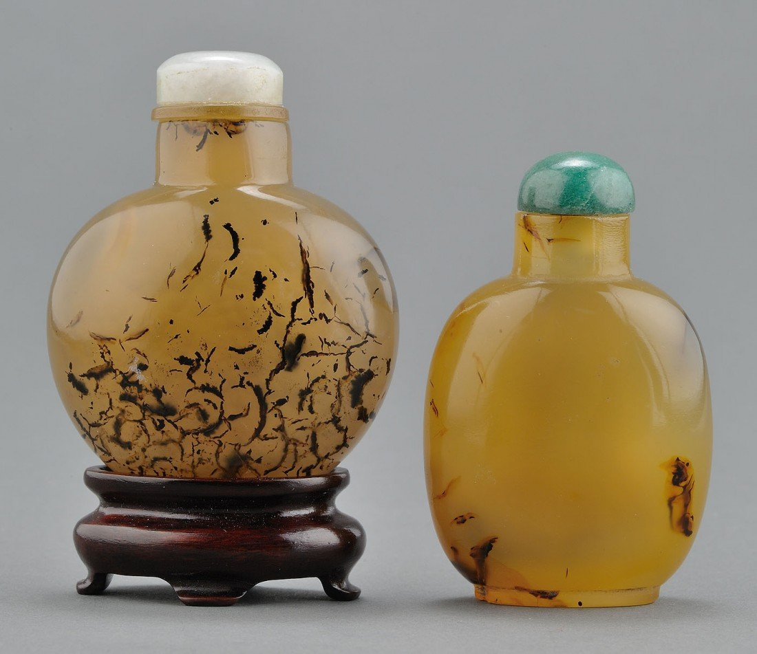 "12: 2 Chinese ""Shadow"" Agate Snuff Bottles, dentrites"