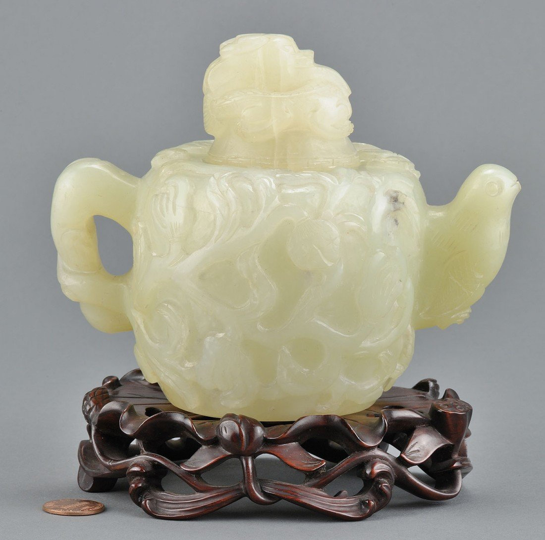 14: Chinese Carved Jade Tea Pot, Mughal style