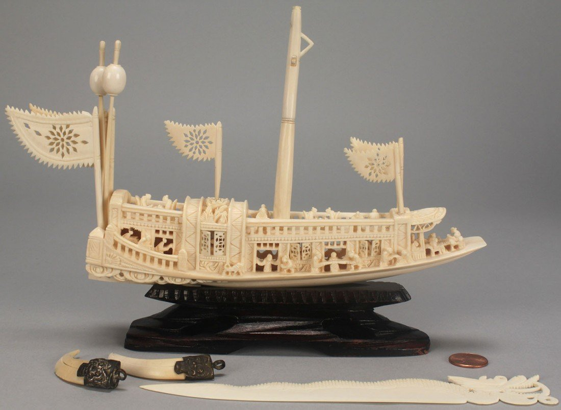 22: 4 pcs Chinese Ivory including carved ship