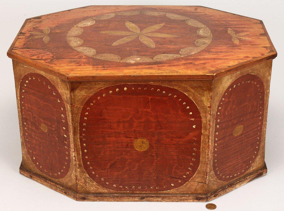 80: NC Painted Octagonal Hat Box, poss. Swisegood