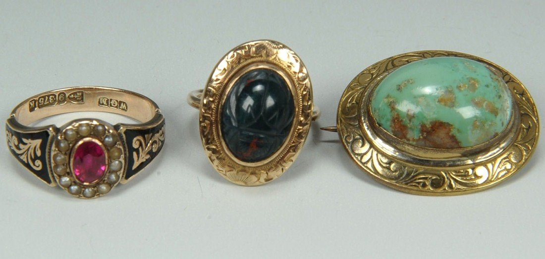 176: 3 items of Jewelry incl. Victorian ruby ring