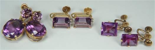 394 3 Pairs 14K  18K Amethyst Earrings