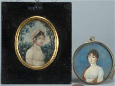 403: Two miniature portraits of ladies, early 19th c.