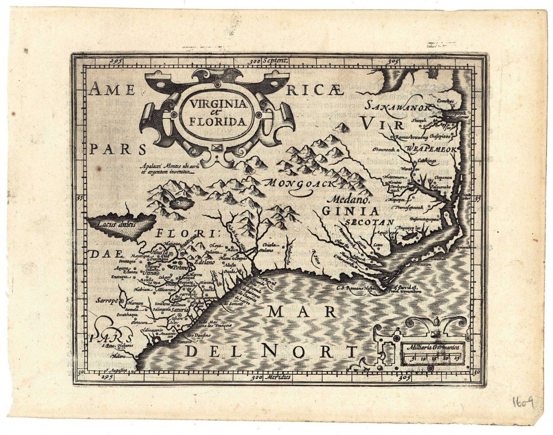 502: G. Mercator map of Virginia and Florida, 1609