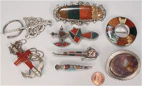 505: Group of Scottish style agate and silver jewelry