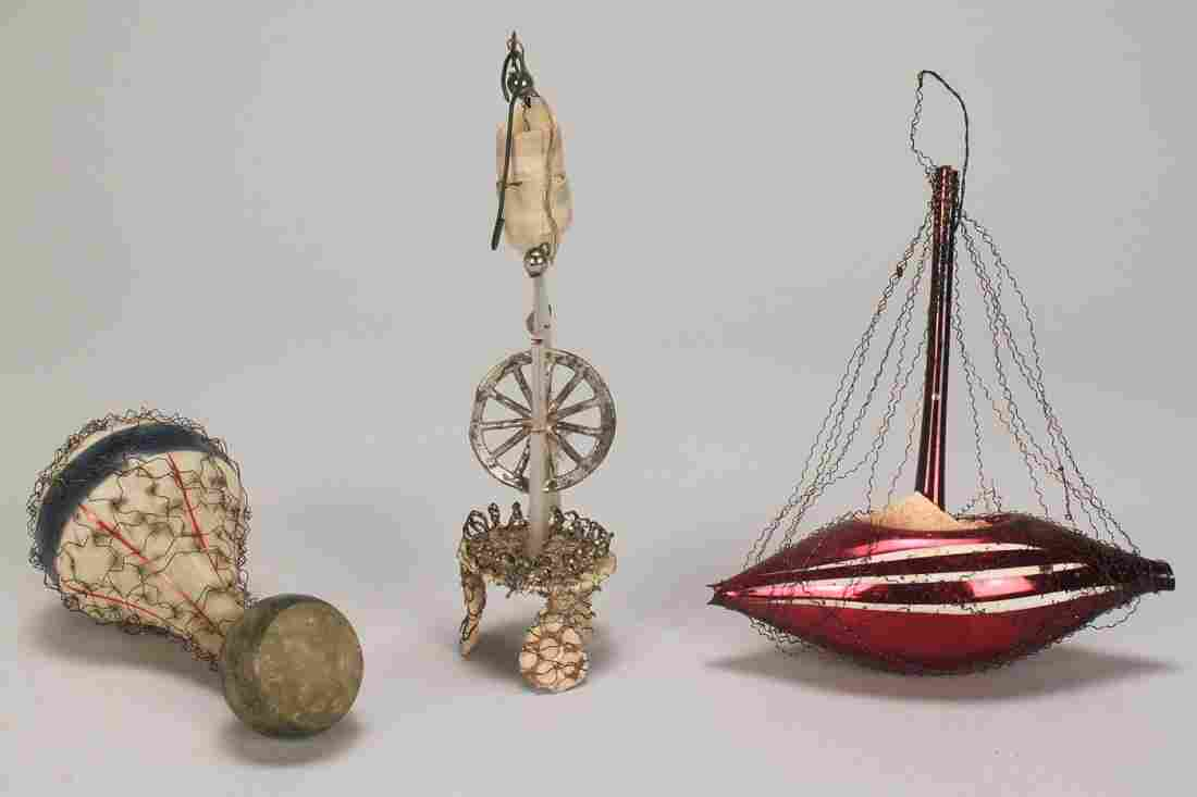 728: 3 Sebnitz German Christmas Ornaments