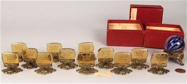 778 Czech Amber Glass Placecard Holders and Marble