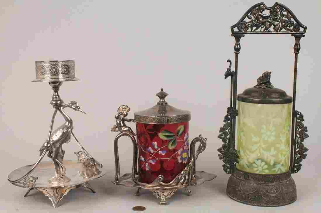 780: 2 Victorian S/P Pickle Castors & Bride's Basket