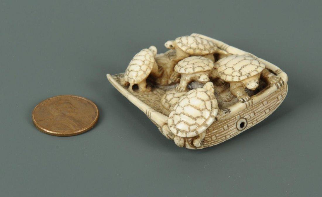 Carved Japanese Ivory Netsuke of Turtles