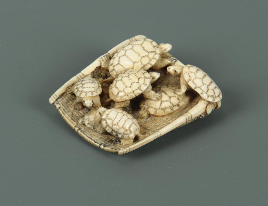 Carved Japanese Ivory Netsuke of Turtles - 3