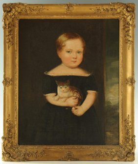 American School, Portrait Of A Child With Kitten