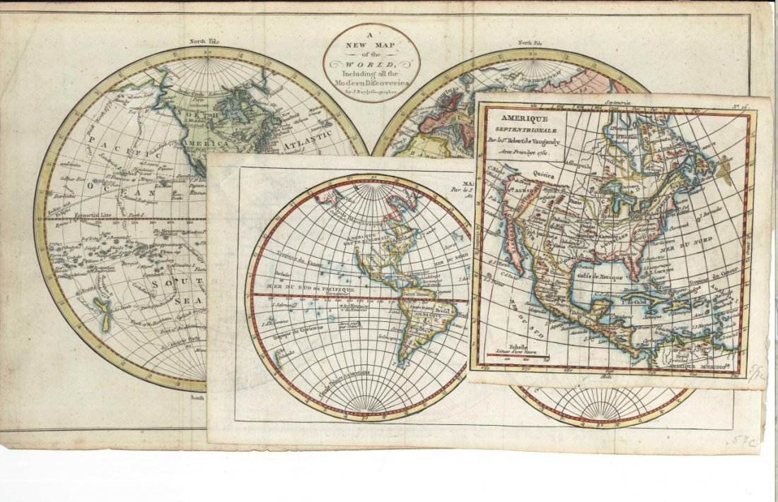 3 18th C. maps incl. R. Vaugondy and J. Bayly