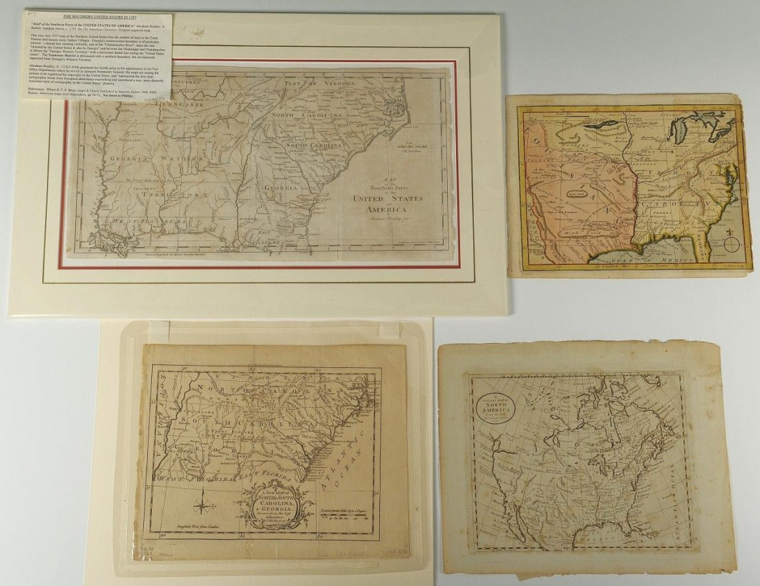 Four 18th c. US Maps, Mainly Southern