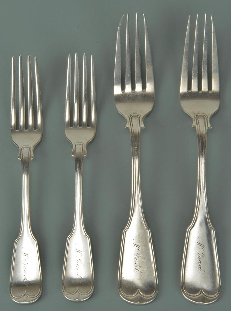 4 Coin Silver Forks, McGavock Family of TN