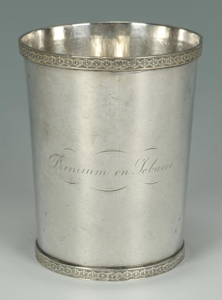 J. Kitts coin silver cup, Tobacco Premium
