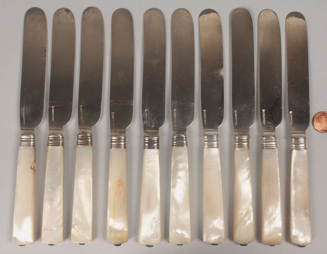 10 Kinsey silver knives w/pearl handles