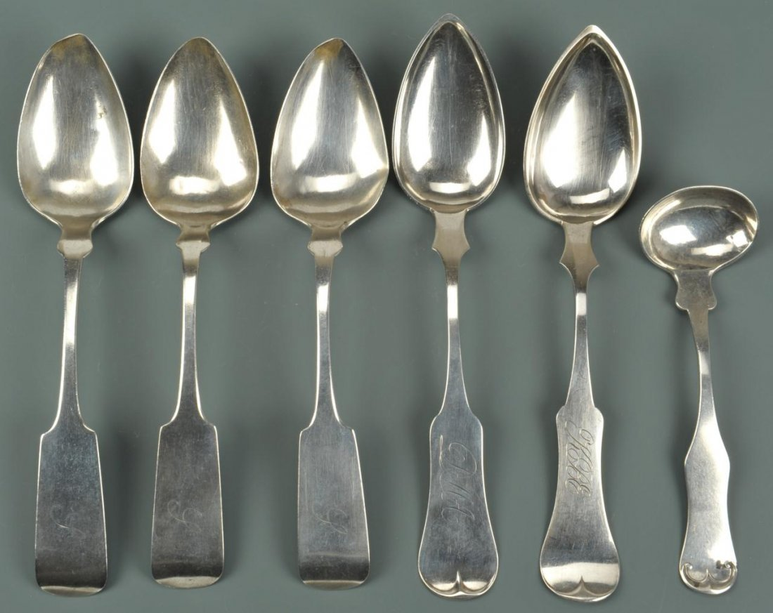 6 pcs. Coin Silver flatware, KY and NY