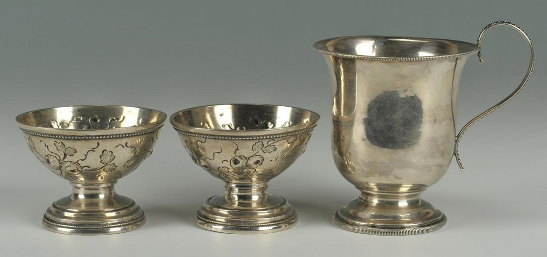 """Coin Silver Mug """"For the General"""" and Coin Salts"""