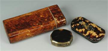 Three tortoise shell boxes including cigarette case