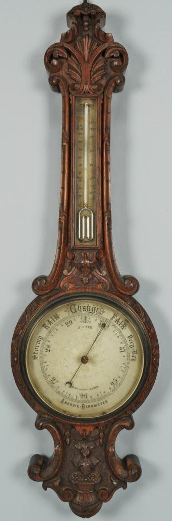 J. Hicks London Aneroid Barometer Thermometer