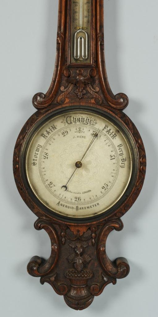 J. Hicks London Aneroid Barometer Thermometer - 2