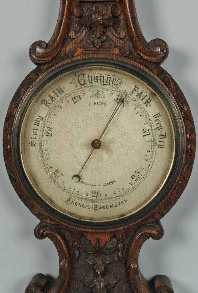 J. Hicks London Aneroid Barometer Thermometer - 3