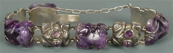 Spratling Silver and Amethyst Frog Bracelet