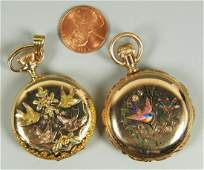 Two 14K Waltham Hunting Case Watches w Birds