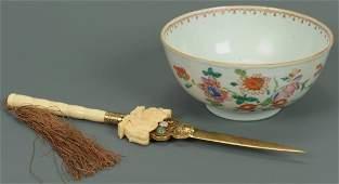 Chinese Ivory Letter Opener Famille Rose Bowl