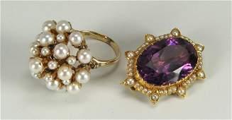 14K Amethyst Brooch & 10K Pearl Cluster Ring