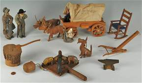 Southern Carved Wooden Folk Art Items 11 pcs