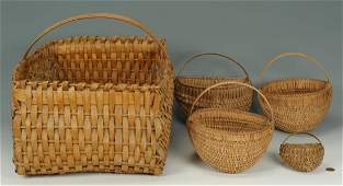 Five 19th TN Split Oak Baskets