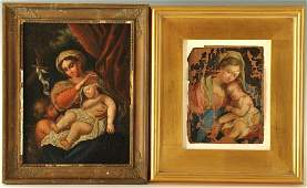 2 Madonna and Child paintings, 19th c.