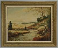 Impressionist landscape with shepherd, o/c