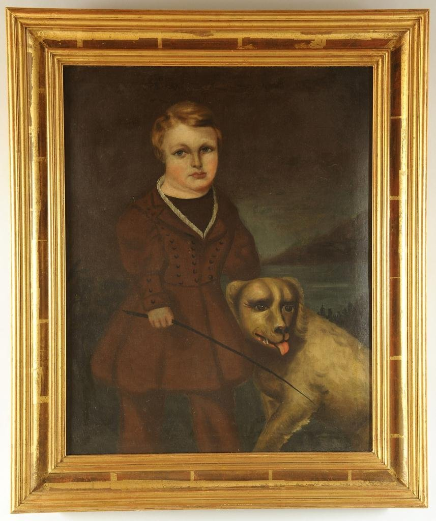 Oil on canvas Portrait of Boy & Dog, 19th century