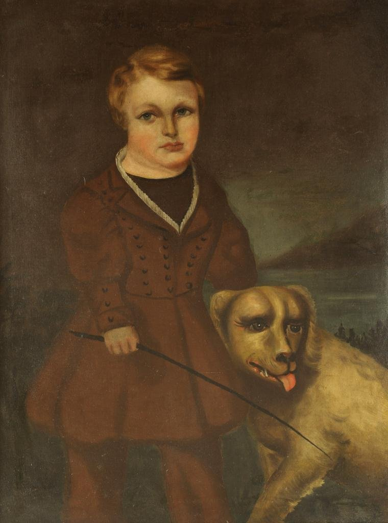 Oil on canvas Portrait of Boy & Dog, 19th century - 2