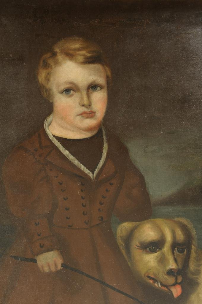 Oil on canvas Portrait of Boy & Dog, 19th century - 4